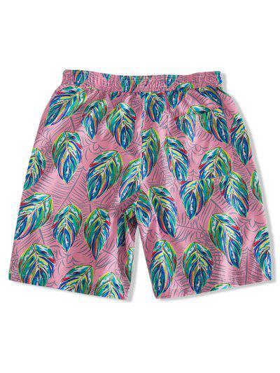 28b55d8ec698 ... Shorts De Tablero De Impresión De Pintura De Hojas Coloridas - Rosa  Claro M
