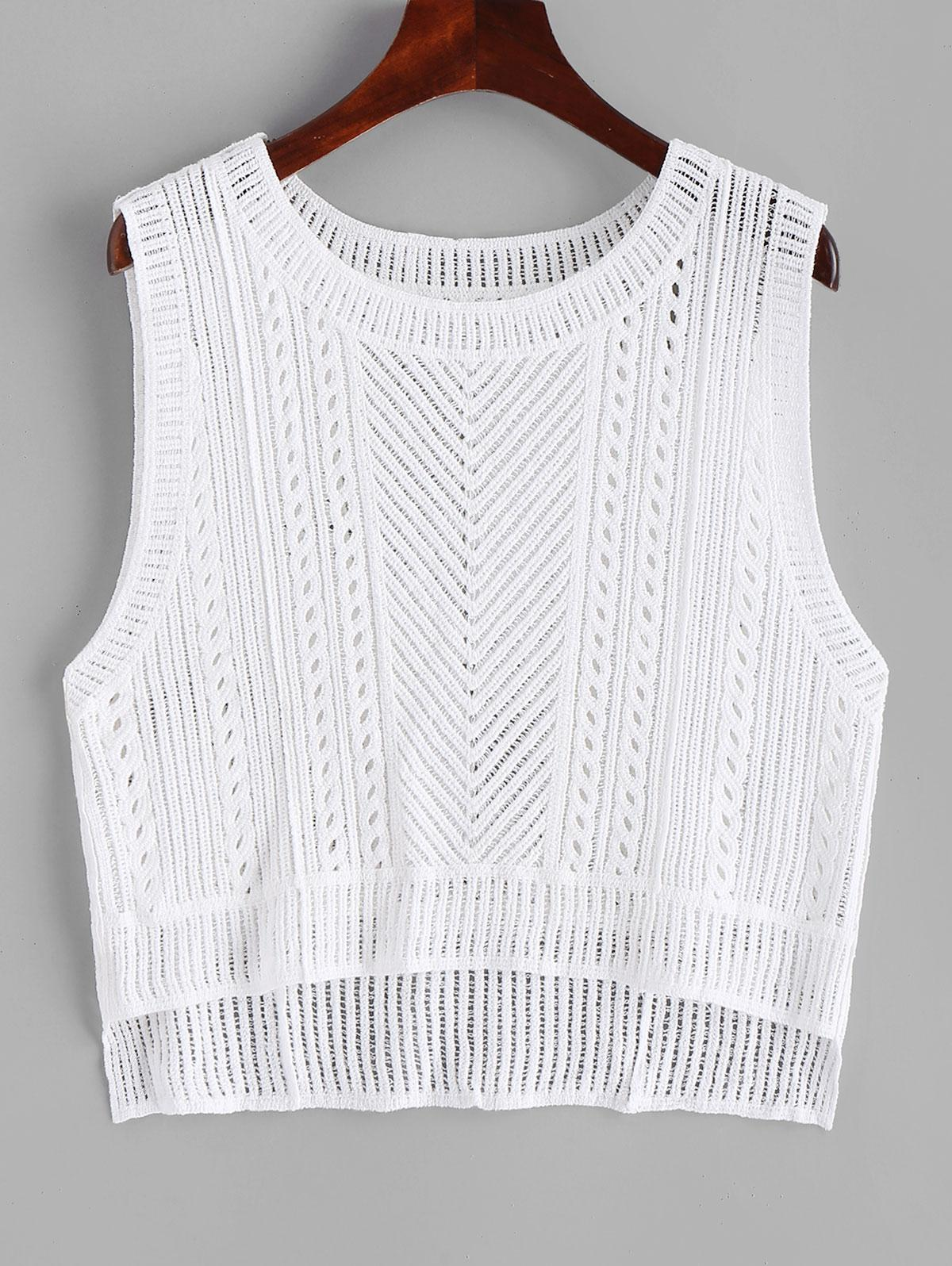 Crochet High Low Cover Up Top, White