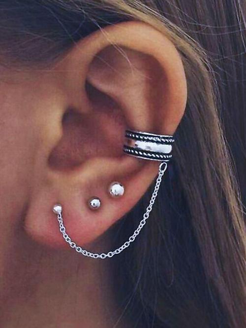3 Piece Retro Ear Cuff Chain Earrings Sets