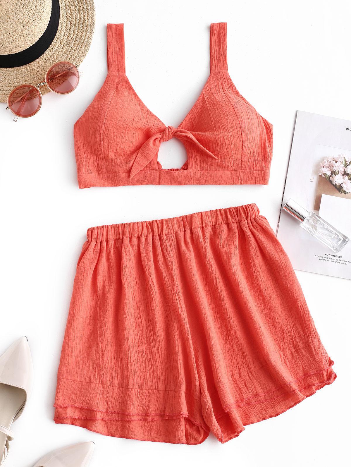 Cut Out Crop Top and Shorts Set, Pumpkin orange