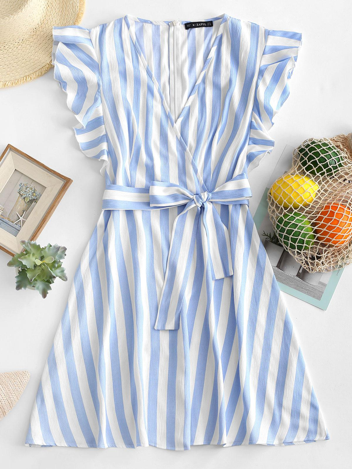 ZAFUL Striped Surplice Ruffled Belted Dress, Blue
