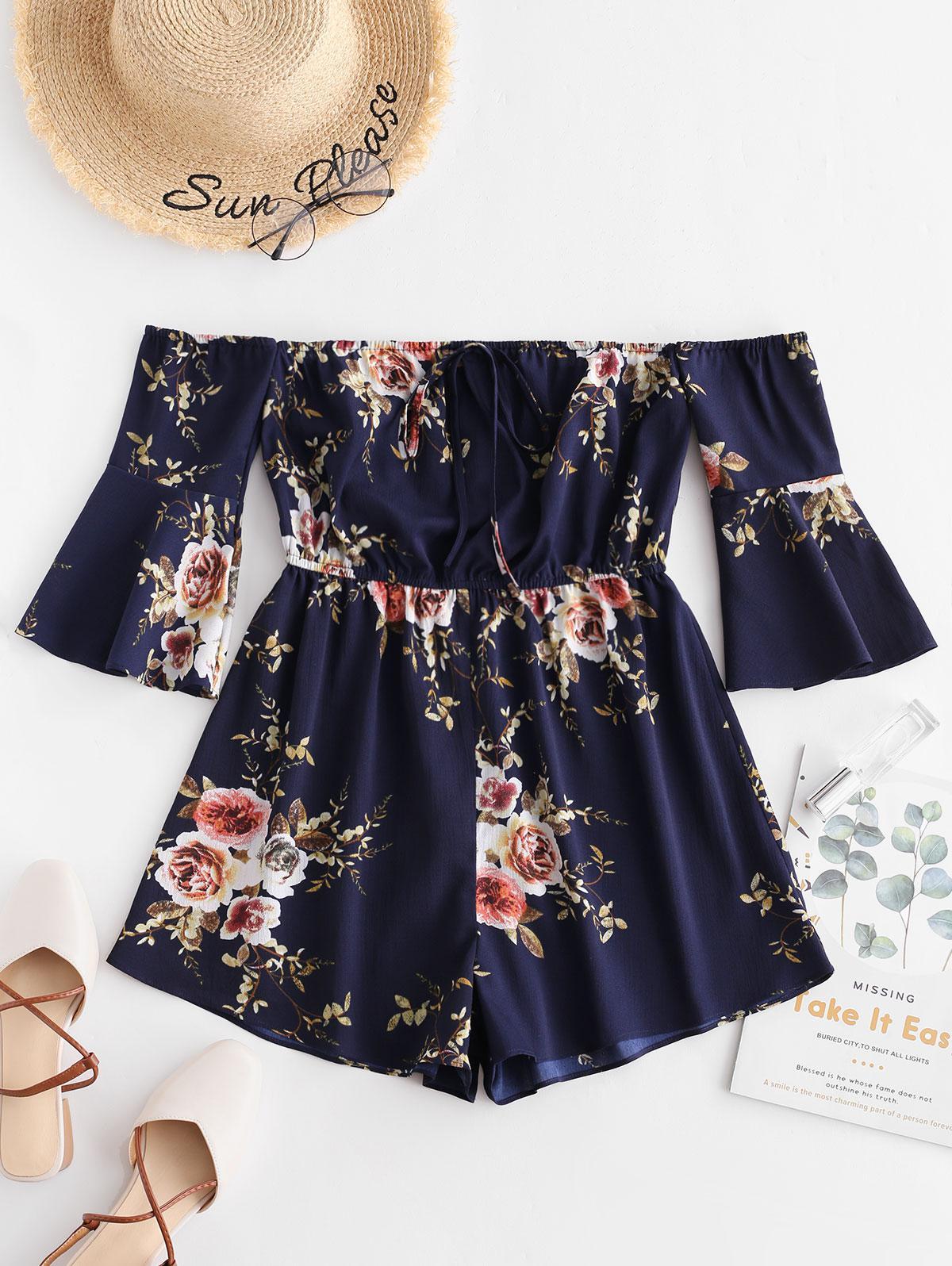 ZAFUL Off Shoulder Floral Print Wide Leg Romper, Deep blue