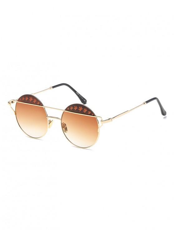 best Maple Pattern Bar Round Sunglasses - TAN