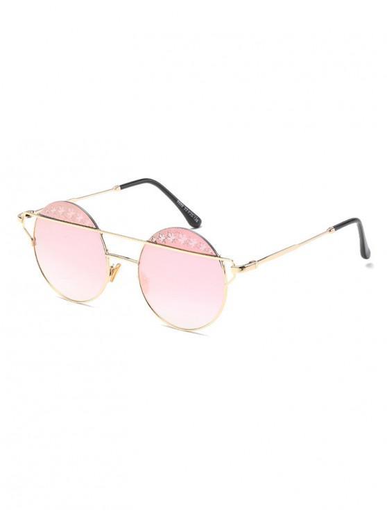 trendy Maple Pattern Bar Round Sunglasses - PIG PINK