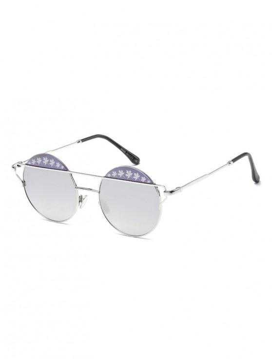women Maple Pattern Bar Round Sunglasses - SILVER
