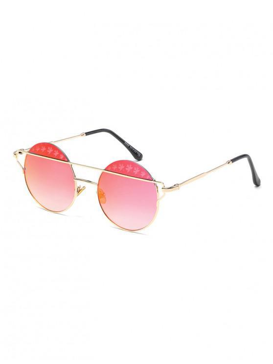 women's Maple Pattern Bar Round Sunglasses - BLUSH RED
