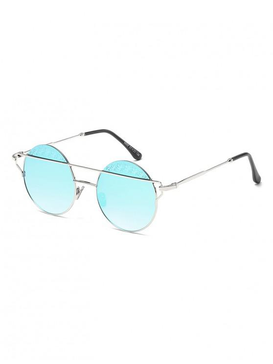 outfit Maple Pattern Bar Round Sunglasses - PALE BLUE LILY