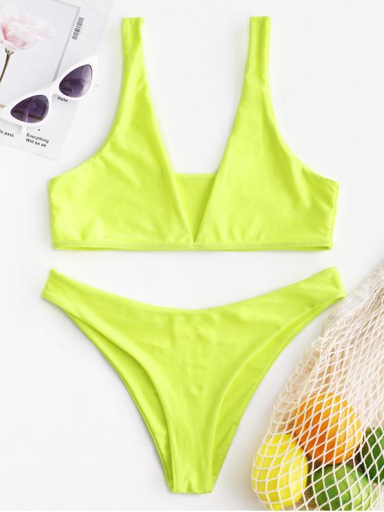 chic ZAFUL Neon High Leg Convertible Bikini Swimsuit - GREEN YELLOW S