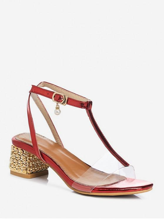 women T Strap Mid Chunky Heel Sandals - RED EU 41