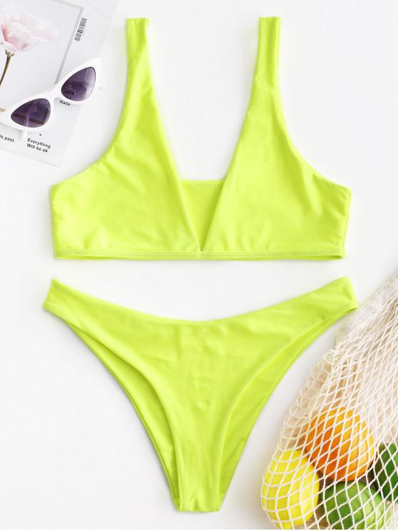 ZAFUL نيون عالية الساق للتحويل بيكيني ملابس السباحة - أخضر أصفر M