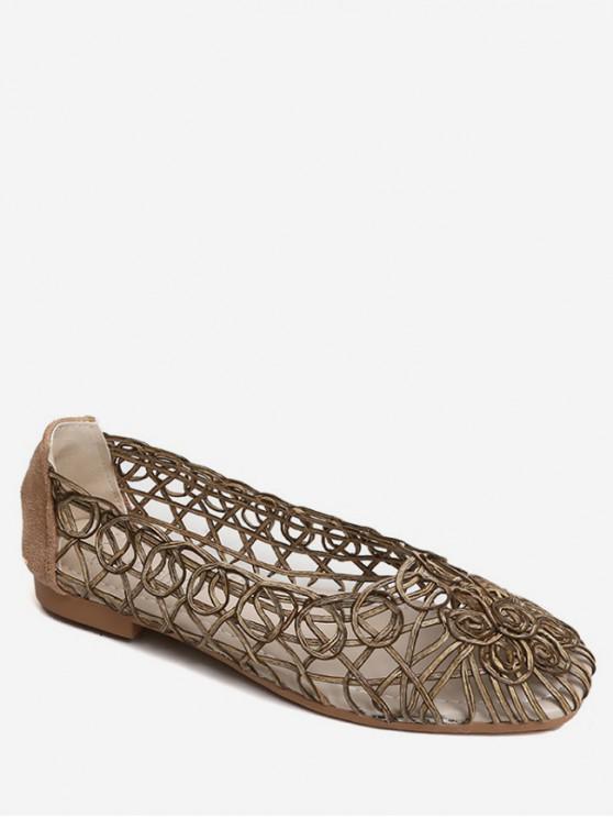 buy Hollow Spiral Slip On Flat Shoes - GOLD EU 40