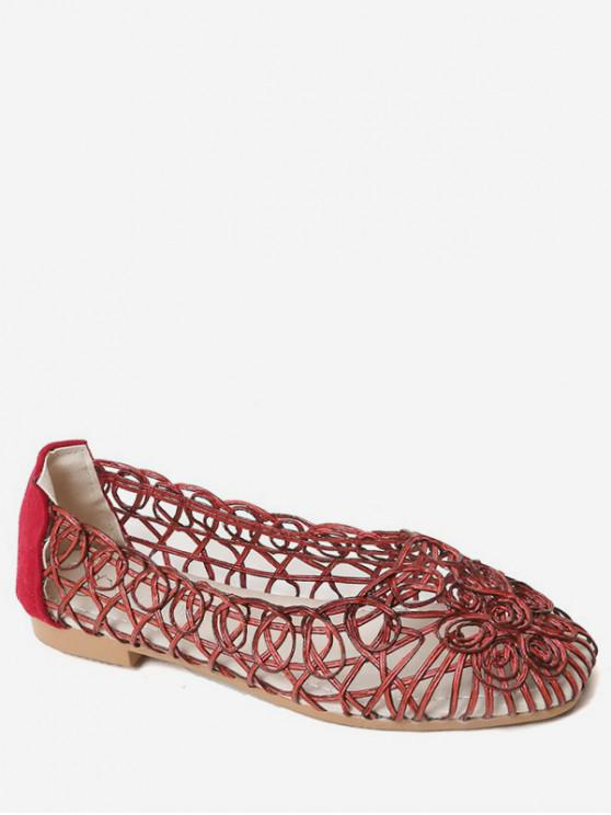 chic Hollow Spiral Slip On Flat Shoes - RED WINE EU 40