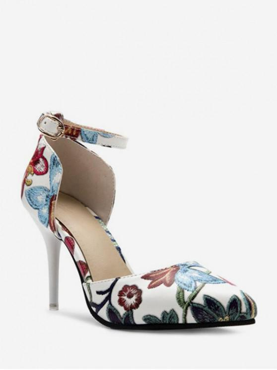 6dfc06709ef120 40% OFF] 2019 Pointed Toe Floral Print Heeled Pumps In WHITE | ZAFUL ...