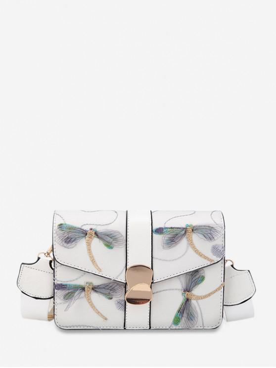Bolso Crossbody de cuero de la PU de Dragonfly bordado - Blanco