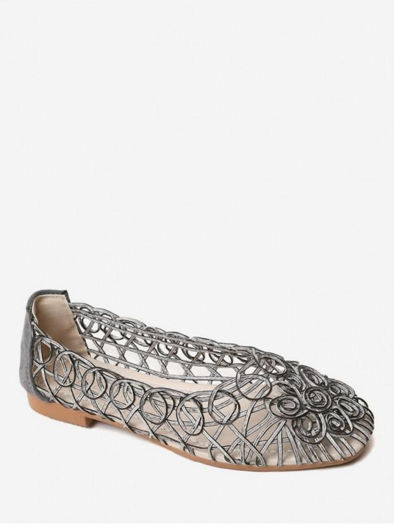 shop Hollow Spiral Slip On Flat Shoes - GRAY CLOUD EU 38