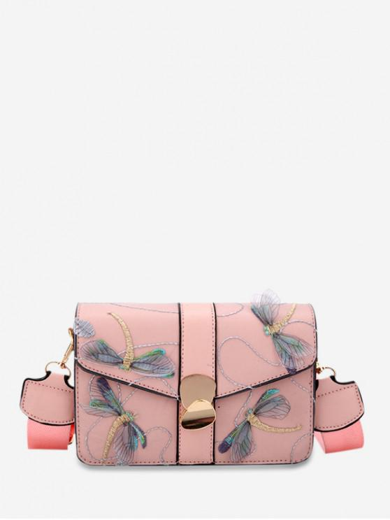 hot Embroider Dragonfly PU Leather Crossbody Bag - PINK