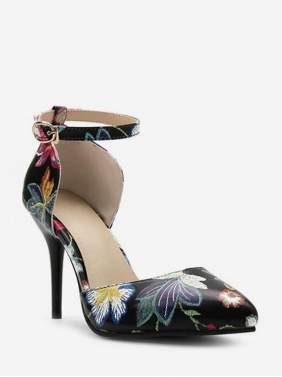 latest Pointed Toe Floral Print Heeled Pumps - BLACK EU 38