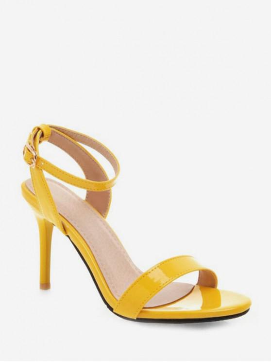 online Simple Style Ankle Strap Buckle Strap Sandals - BRIGHT YELLOW EU 41