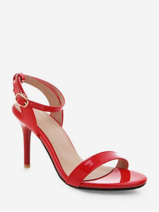 ladies Simple Style Ankle Strap Buckle Strap Sandals - LAVA RED EU 35