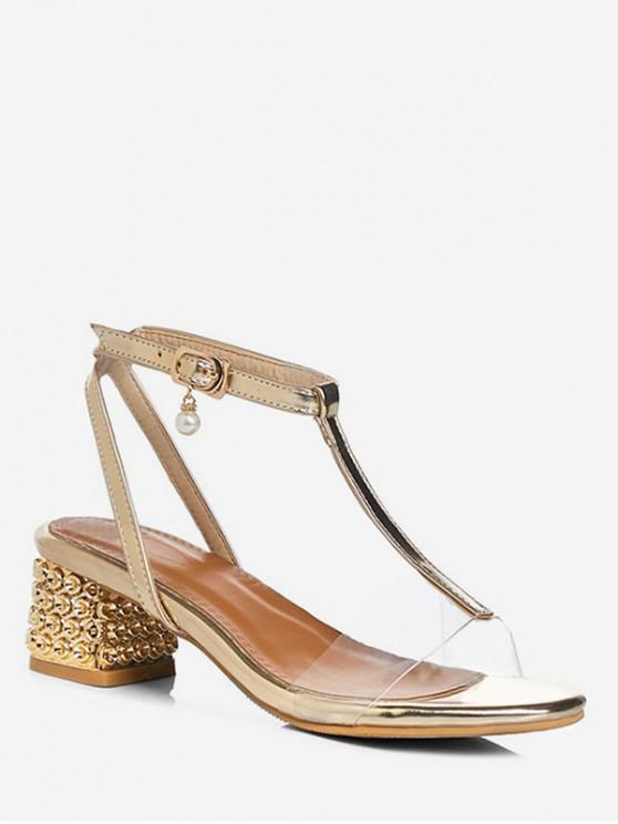 latest T Strap Mid Chunky Heel Sandals - GOLD EU 39