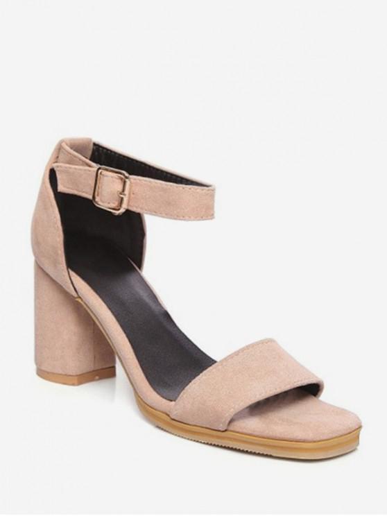 women's Ankle Strap Chunky Heel Sandals - APRICOT EU 40