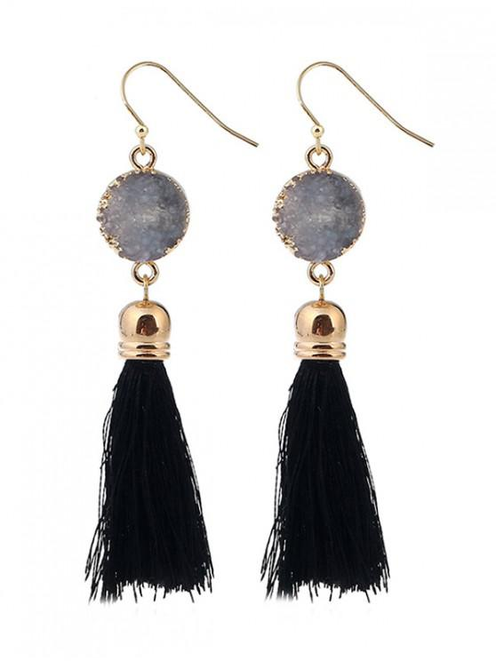 fashion Faux Stone Tassel Dangle Earrings - BLACK