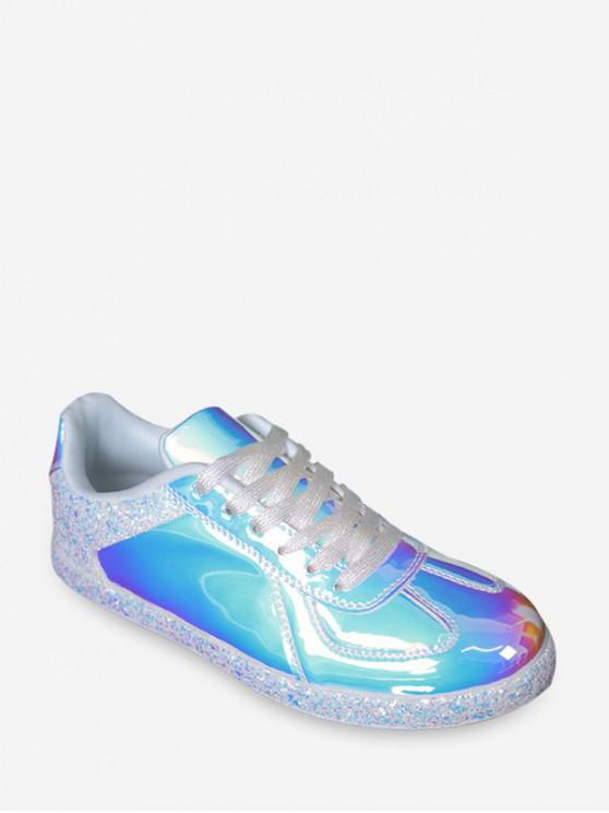 ladies Mirrored Glitter Lace Up Sneakers - WHITE EU 38