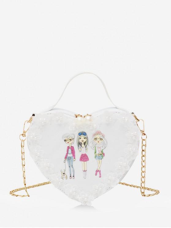 latest Heart Shape Beads Pattern Chain Crossbody Bag - MULTI-B