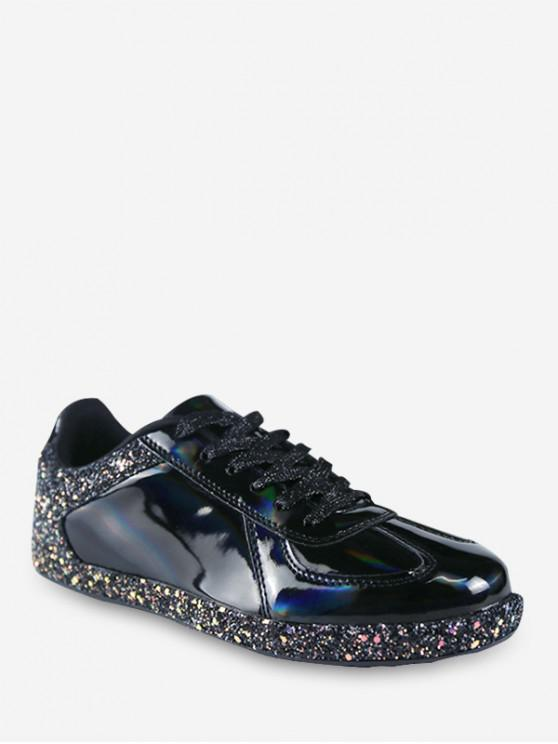 fashion Mirrored Glitter Lace Up Sneakers - BLACK EU 40