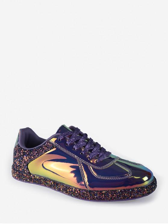 womens Mirrored Glitter Lace Up Sneakers - PURPLE EU 38