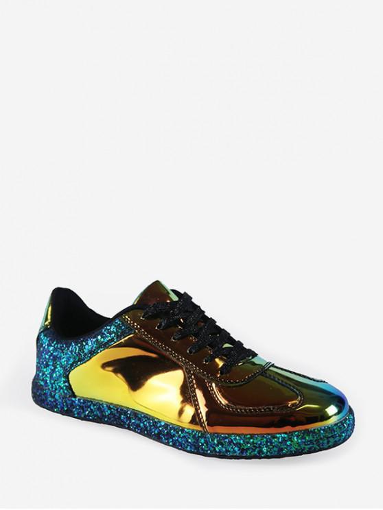 women's Mirrored Glitter Lace Up Sneakers - GOLD EU 40