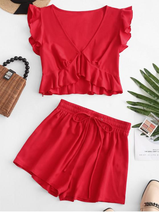 shops ZAFUL Ruffles Cropped Top And Shorts Set - LAVA RED M
