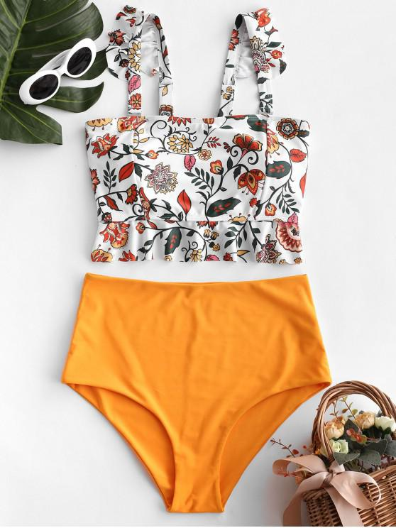 women's ZAFUL Floral Ruffle Lace Up Tankini Swimsuit - MULTI-A L