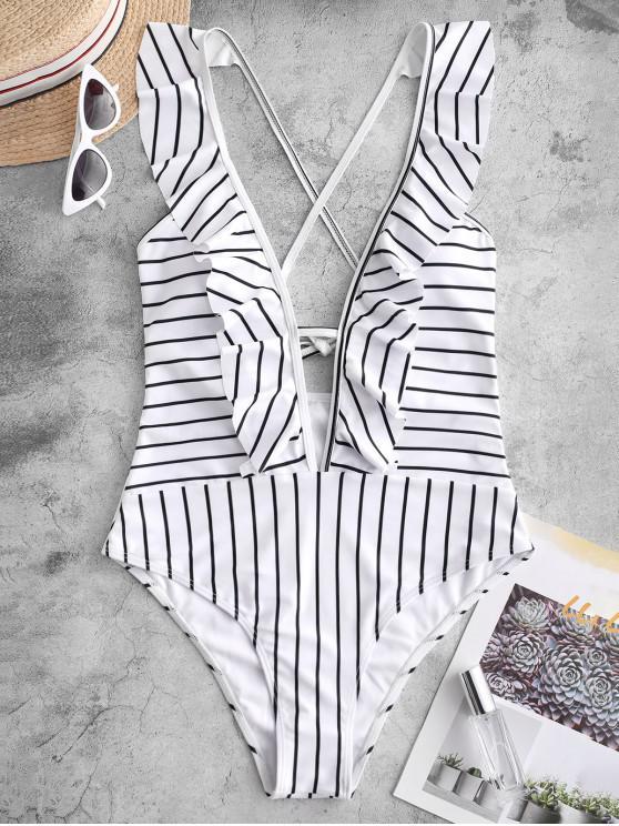 fashion ZAFUL Striped Ruffle Plunging One-piece Swimsuit - MULTI-A XL