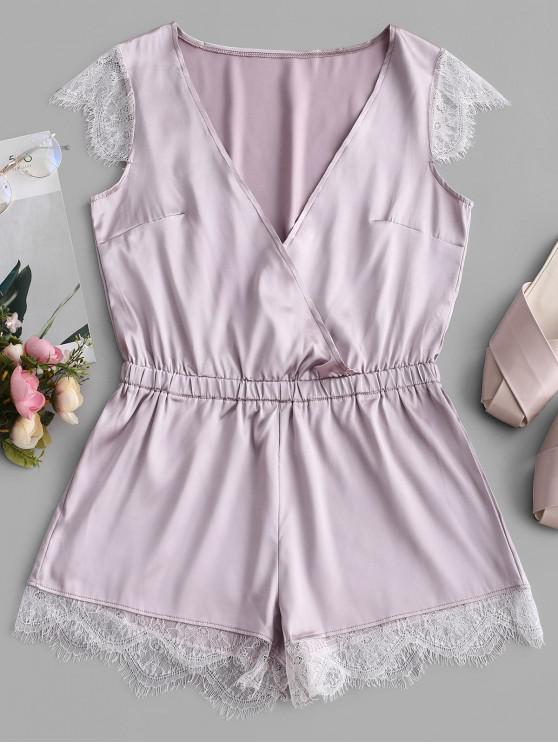 womens Satin Lace Panel Pajama Romper - LAVENDER BLUE S