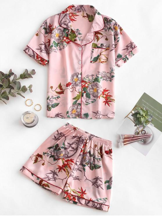 affordable Floral Print Buttoned Satin Pajama Suit - SAKURA PINK XL
