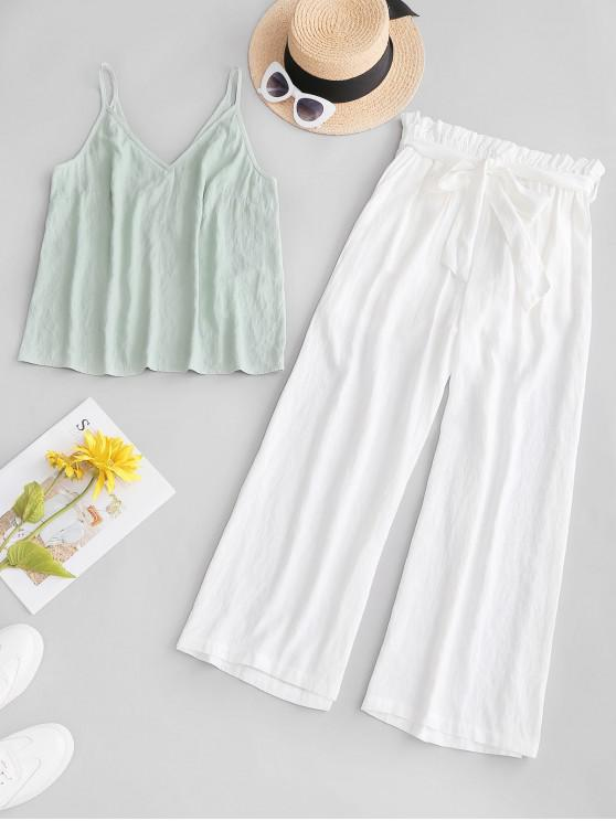 hot ZAFUL Cami Top and Belted Paperbag Pants Set - WHITE M