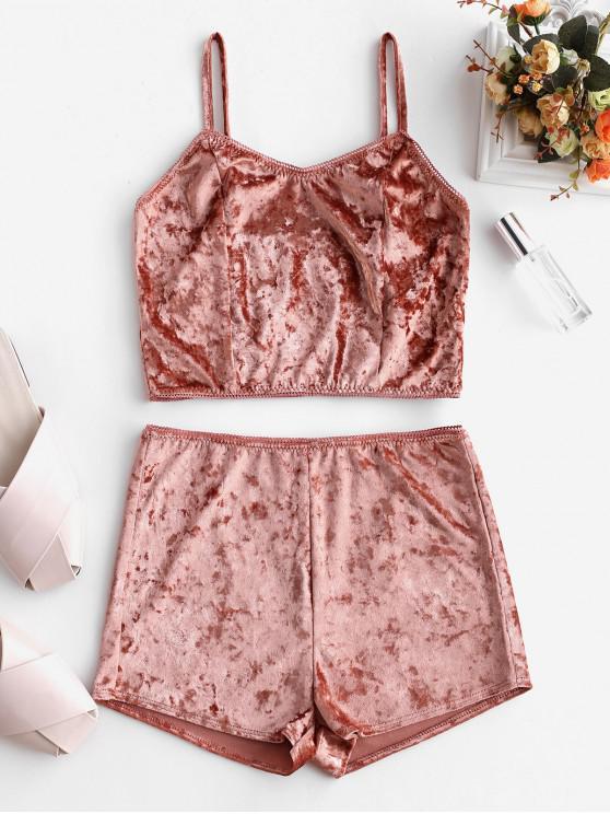 Conjunto de terciopelo de cami y pantalones cortos ajustados - Rosa Khaki M