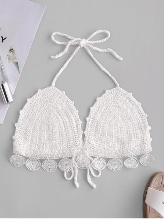 outfit Halter Tied Crochet Bralette Top - WHITE ONE SIZE