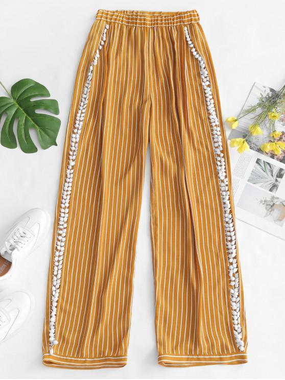 outfits ZAFUL Striped Pom Pom Slit Beach Pants - GOLDEN BROWN M