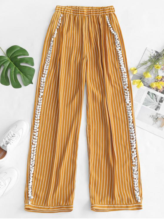 unique ZAFUL Striped Pom Pom Slit Beach Pants - GOLDEN BROWN L