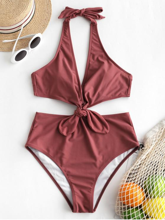 outfit ZAFUL Knot Halter Monokini Swimsuit - CHERRY RED S