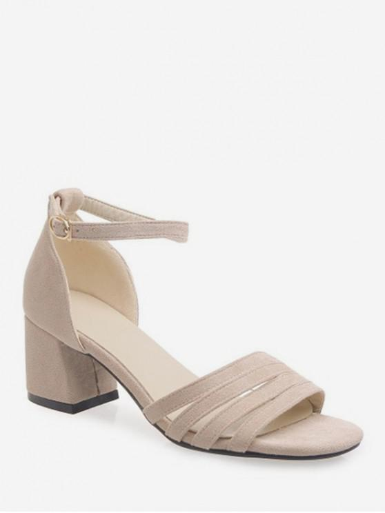 Sandalias de tacón grueso de correa de calado - Beige EU 34