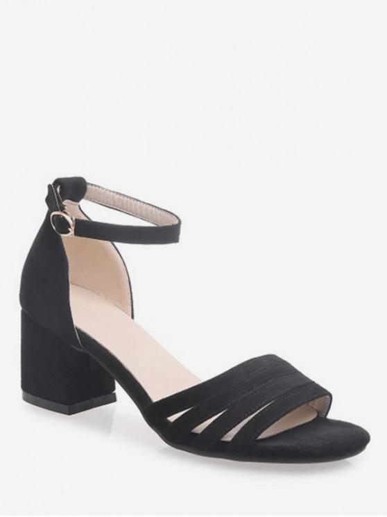 shops Openwork Strap Chunky Heel Sandals - BLACK EU 34