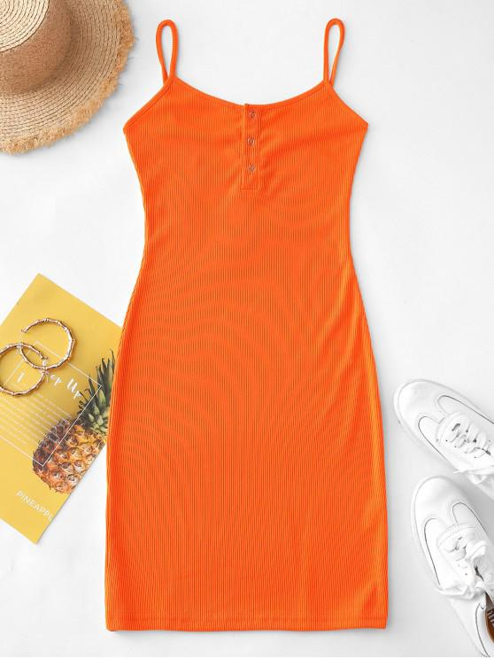 women's Half Buttoned Ribbed Cami Dress - PUMPKIN ORANGE L