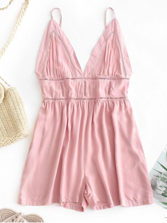 outfit Elastic Waist Crochet Eyelet Cami Romper - ROSY BROWN S