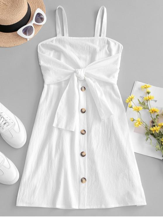 fashion ZAFUL Tie Front Buttoned Smocked Mini Dress - WHITE M