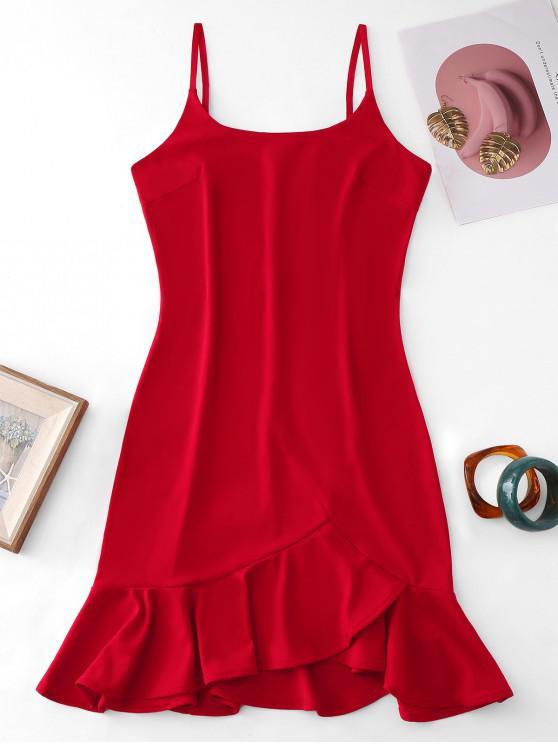 ladies Solid Cami Ruffles Mini Dress - RED XL