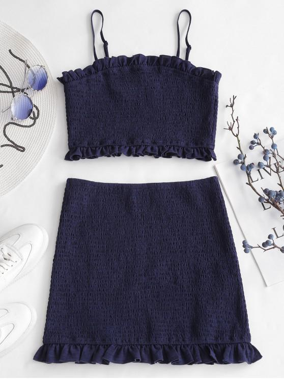 latest ZAFUL Smocked Cami Top And Skirt Set - DEEP BLUE S