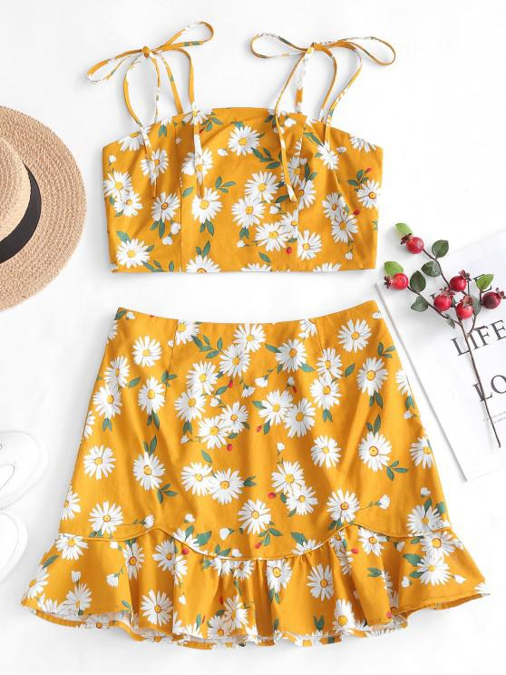 women ZAFUL Smocked Floral Top And Ruffles Skirt Set - BEE YELLOW S